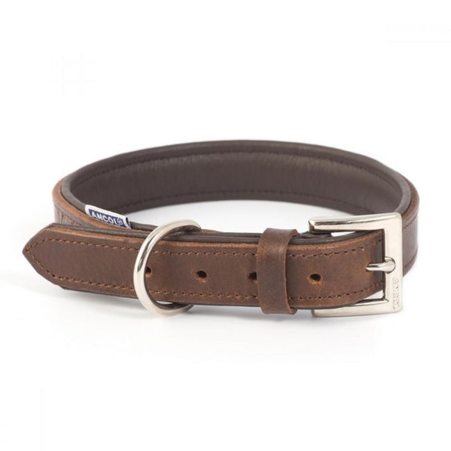 Chestnut - Front - Ancol Vintage Leather Padded Dog Collar