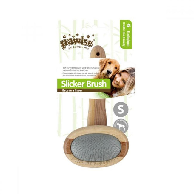 Brown-Silver - Front - Pawise Slicker Pet Brush