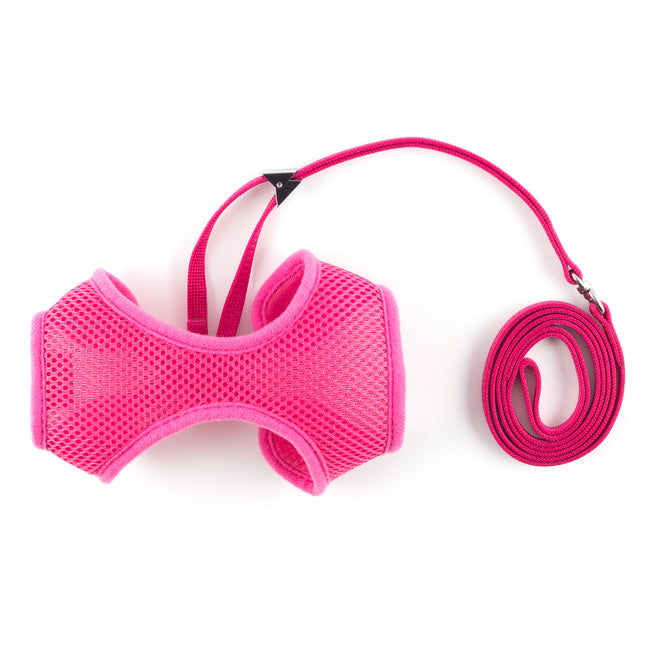 Pink - Front - Ancol Cat-Small Dog Soft Harness And Lead