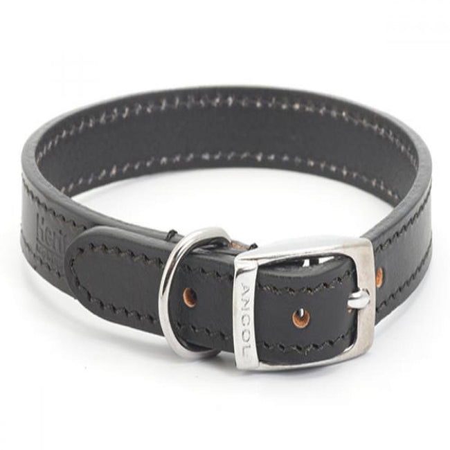 Black - Front - Ancol Heritage Sewn-Half Lined Leather Dog Collar