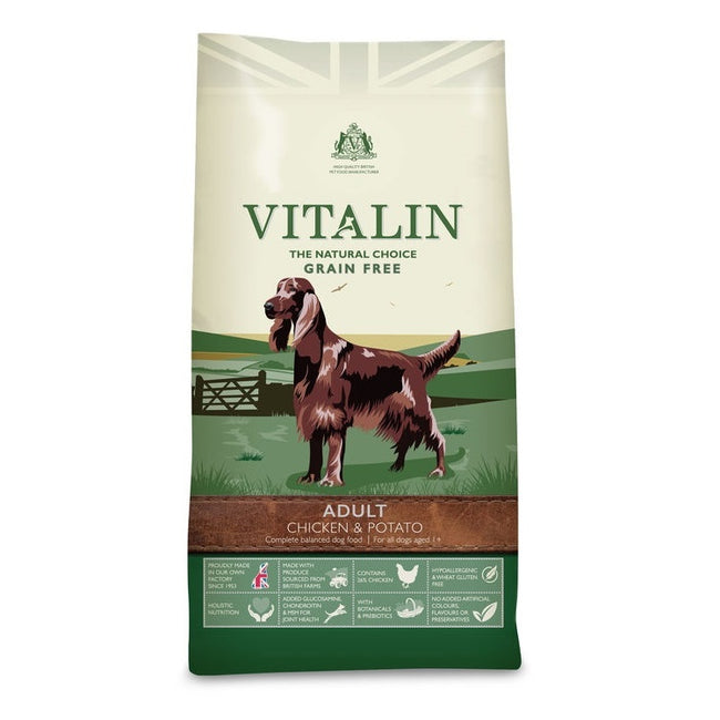 Chicken & Potato - Front - Vitalin Natural Adult Grain Free Dry Dog Food