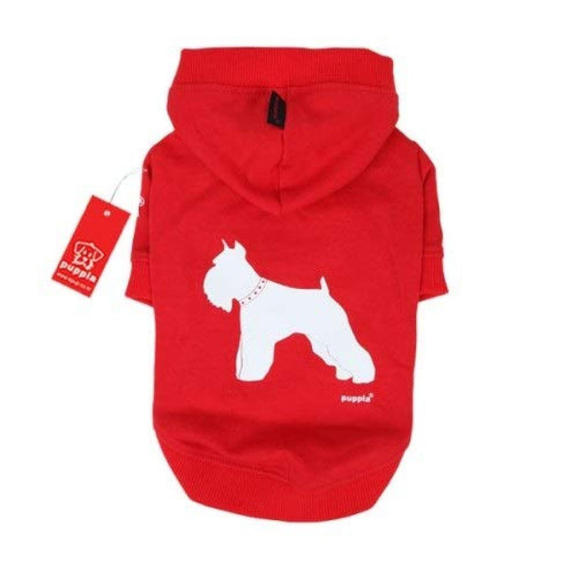 Red - Front - Puppia Tailwagger Hooded Dog Jumper