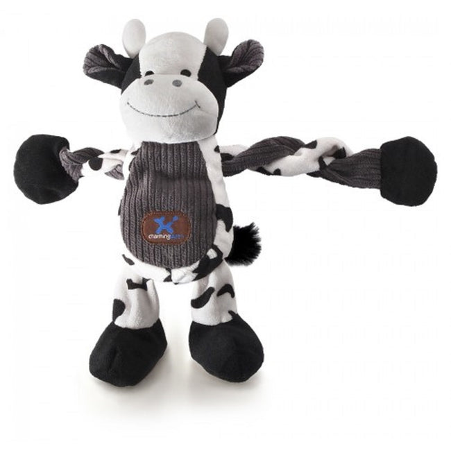 White-Black - Front - Charming Pet Farm Pulleez Cow Toy