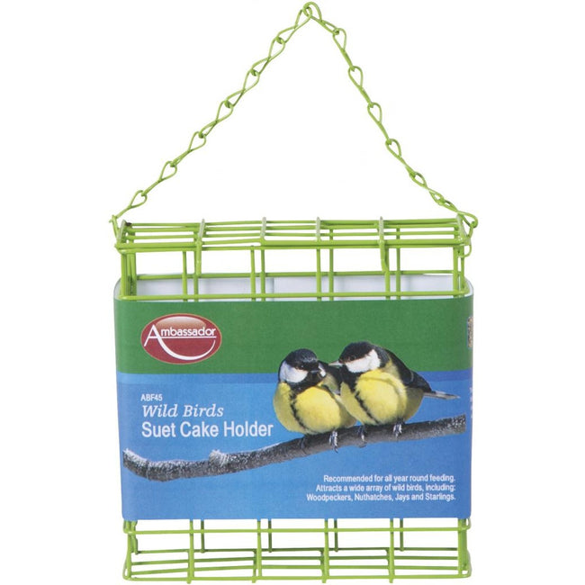 Green - Front - Ambassador Wild Birds Suet Cake Holder