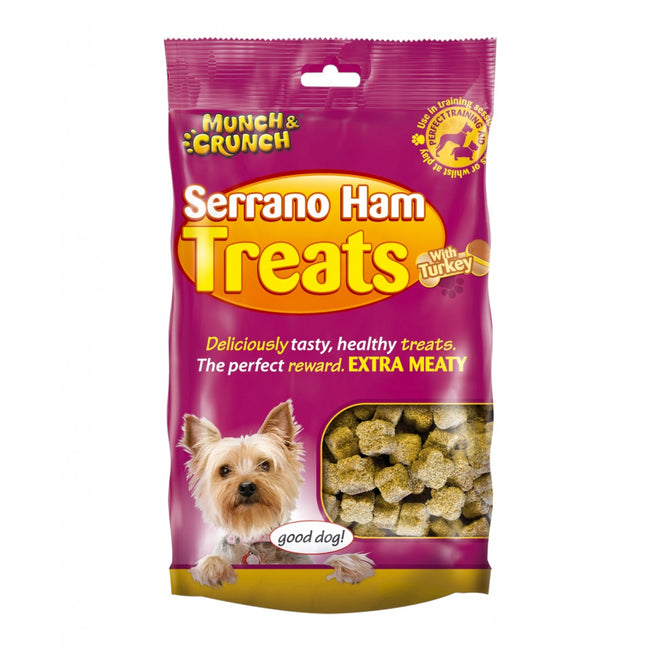 Brown - Front - Munch & Crunch Serrano Ham Dog Treats With Turkey
