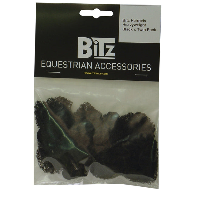 Black - Front - Bitz Heavyweight Hairnets (Pack Of 2)