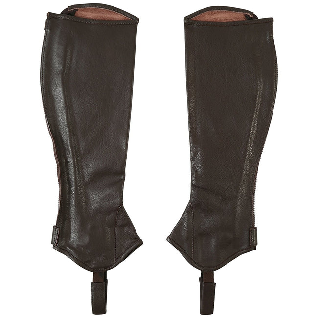 Brown-Cream - Front - Mark Todd Adults Tall Close Fit Leather Half Chaps