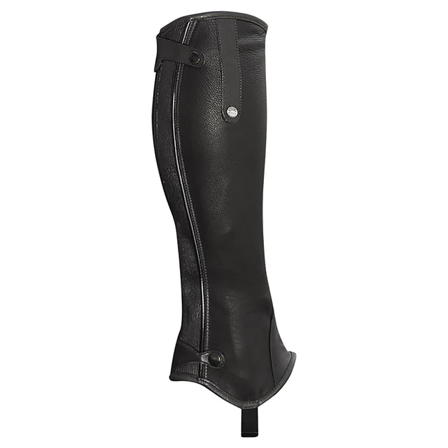 Black - Front - Mark Todd Adults Patent Piped Leather Chaps