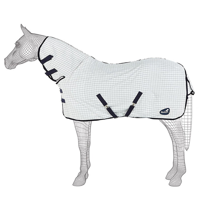 White Check - Front - Masta SS18 Summer Fixed Neck Horse Rug