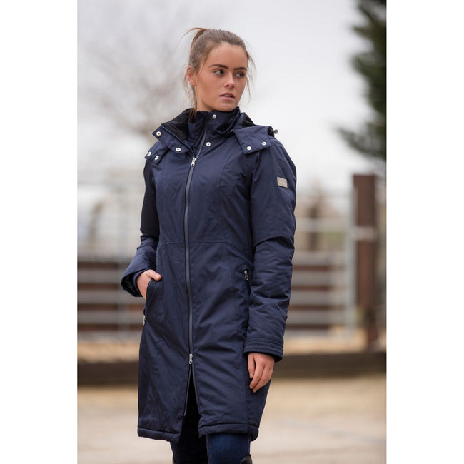 Navy - Front - Mark Todd Womens-Ladies Waterproof Performance Long Coat