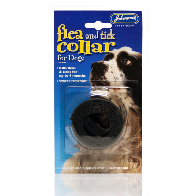 Black - Front - Johnsons Veterinary Tick & Flea Collar For Dogs