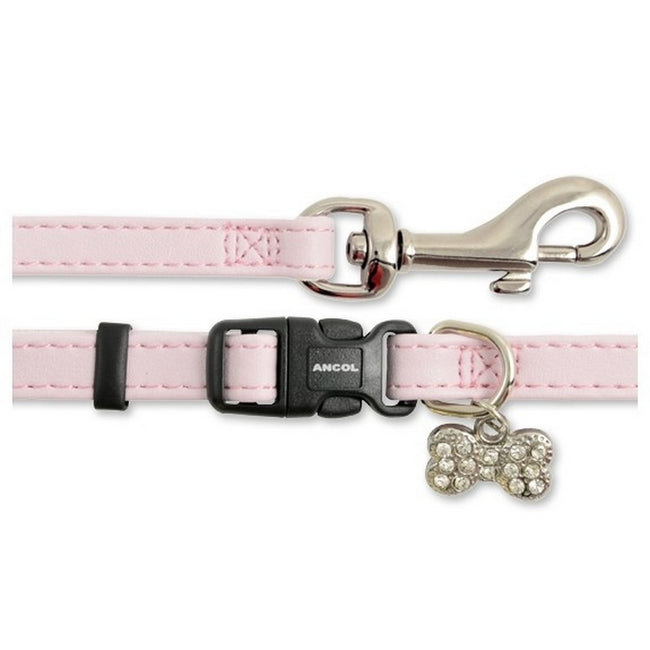 Pink - Front - Ancol Small Bite Nylon Collar & Lead Set