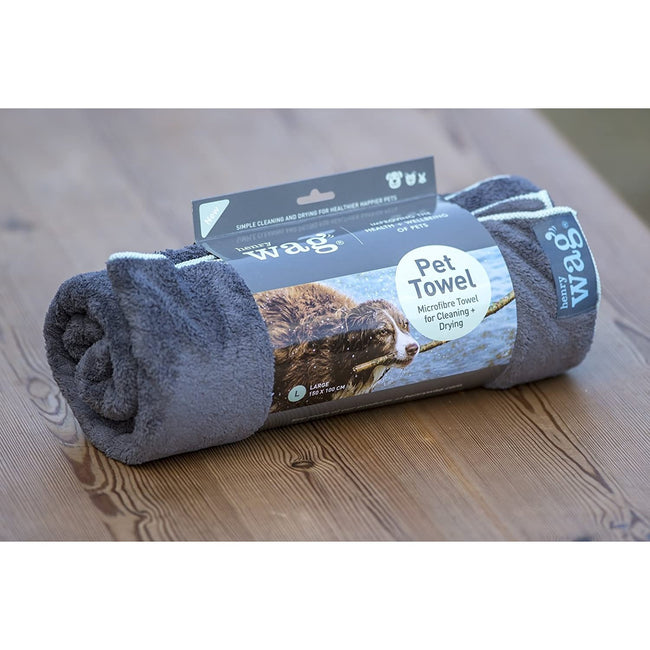 Grey - Back - Henry Wag Microfibre Pet Towel