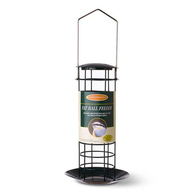 Black - Front - Johnston and Jeff Wild Bird Small Fat Ball Feeder with Tray