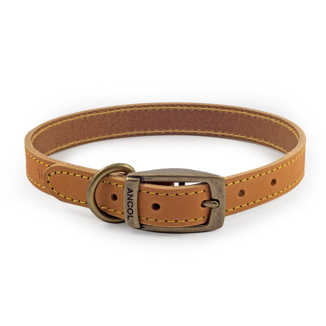 Mustard - Front - Ancol Pet Products Timberwolf Leather Collar