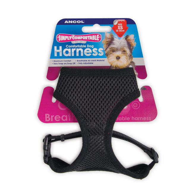 Black - Back - Ancol Pet Products Comfort Mesh Dog Harness