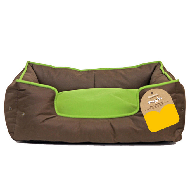 Green-Brown - Front - Rosewood Snuggles Tough N Mucky Pet Bed