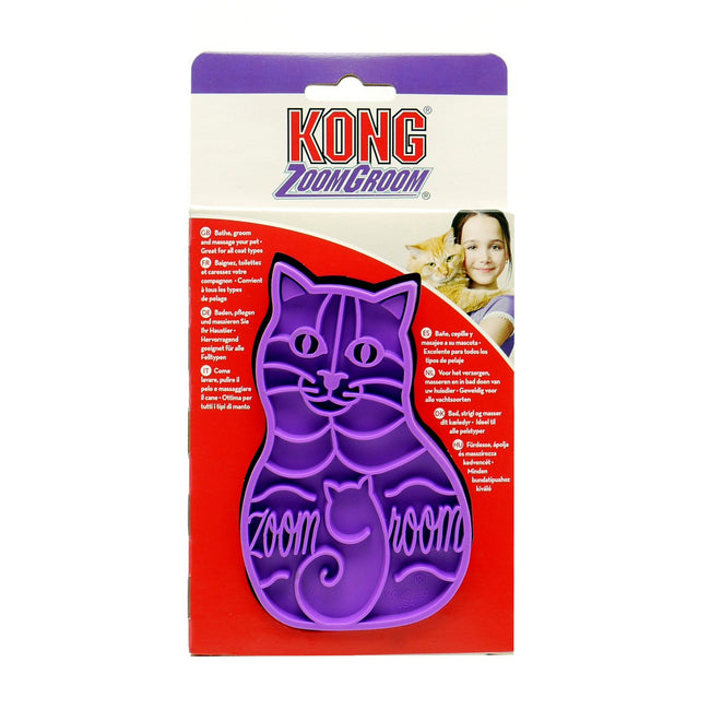Purple - Front - KONG Zoom Groom Rubber Cat Groomer Brush