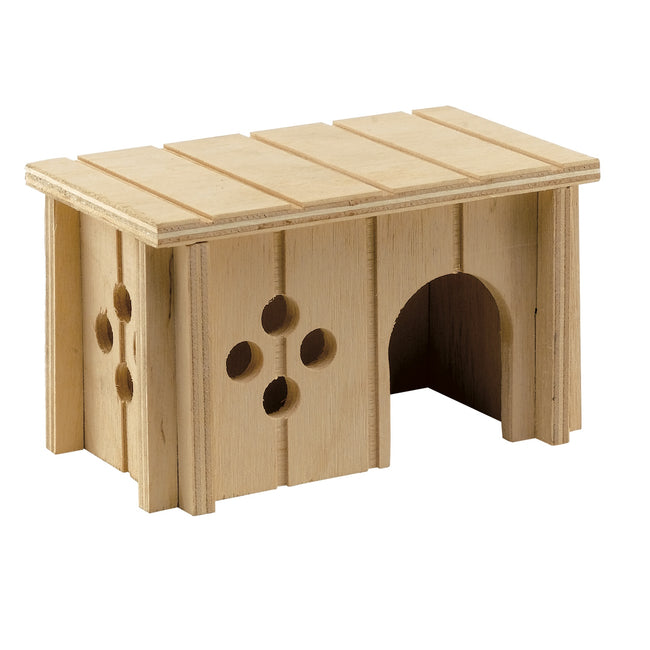 Brown - Front - Ferplas Sin 4642 Wooden House For Rodents