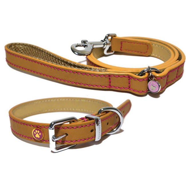 Tan - Front - Rosewood Wag N Walk Designer Leather Harness (Toy Dog-Puppy)