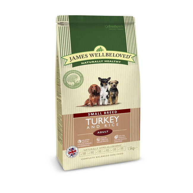 Turkey & Rice - Front - James Wellbeloved Adult Dog Kibble Food For Small Breeds