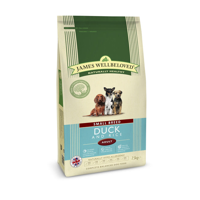 Duck & Rice - Front - James Wellbeloved Adult Dog Kibble Food For Small Breeds