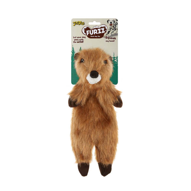 Beige-Brown-White - Front - Interpet Limited Petlove Furzz Plus Beaver Dog Toy