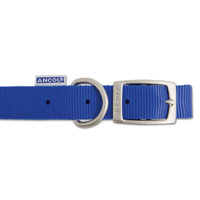 Blue - Back - Ancol Pet Products Heritage Buckle Fasten Weatherproof Dog Collar