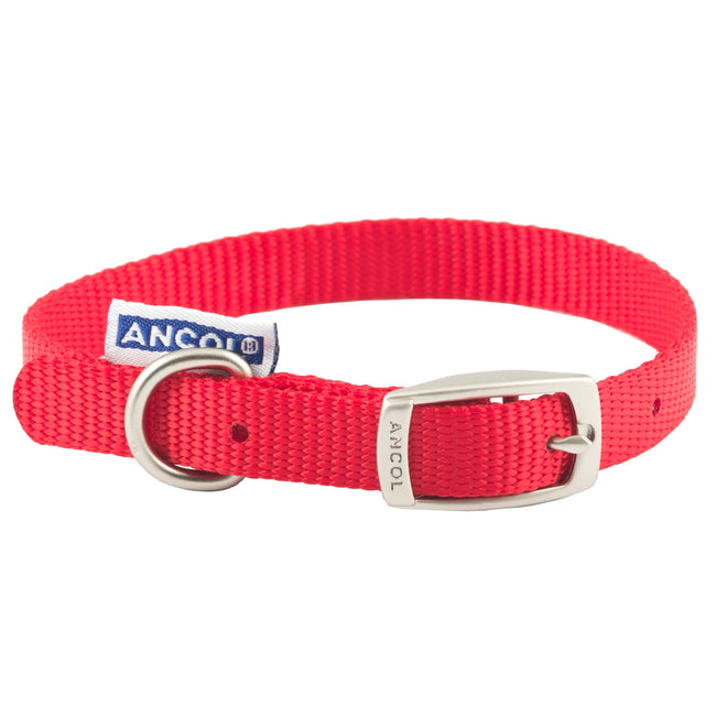 Red - Front - Ancol Pet Products Heritage Buckle Fasten Weatherproof Dog Collar