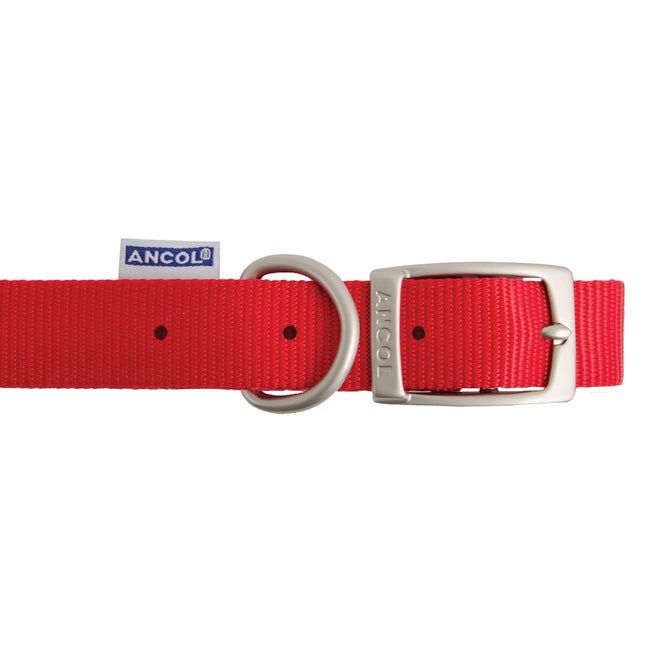 Red - Back - Ancol Pet Products Heritage Buckle Fasten Weatherproof Dog Collar