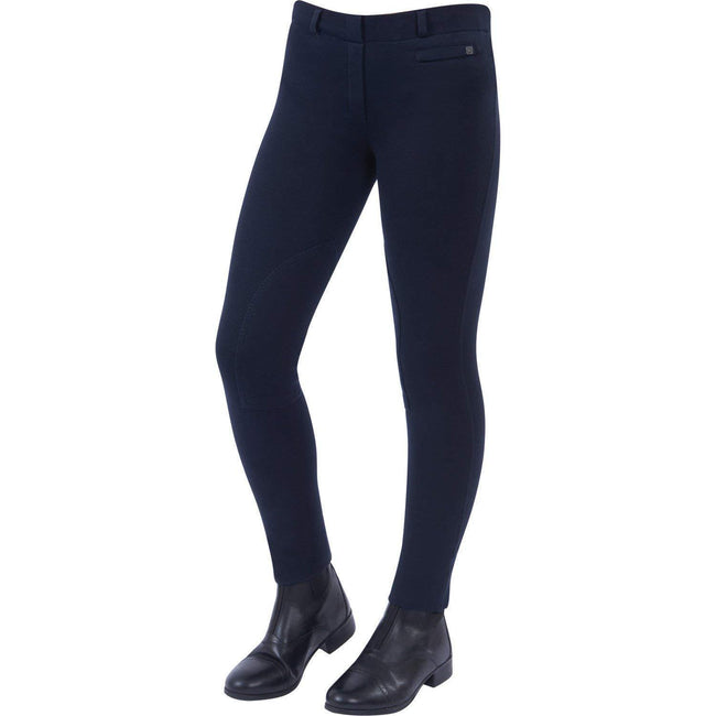 Navy - Front - Dublin Childrens-Kids Supa-fit Pull On Knee Patch Jodhpurs