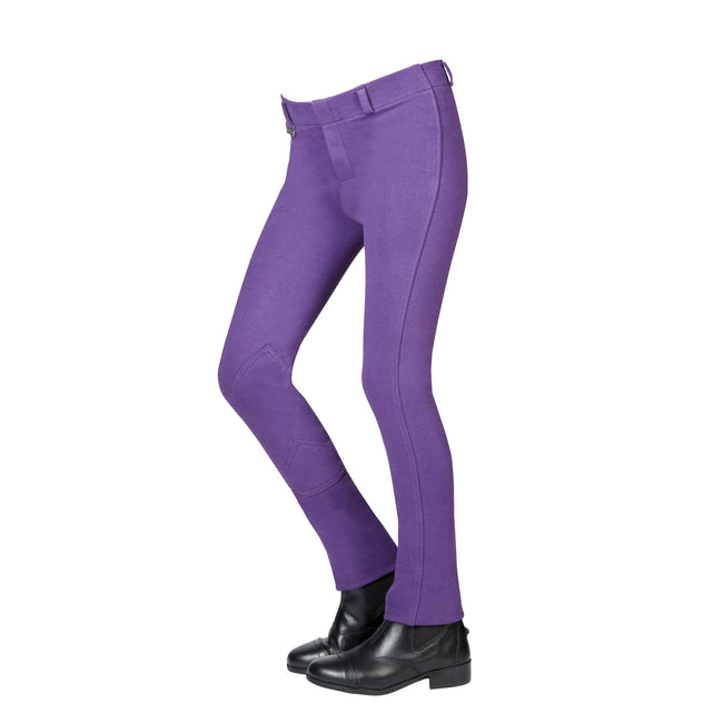 Purple - Front - Dublin Childrens-Kids Supa-fit Pull On Knee Patch Jodhpurs