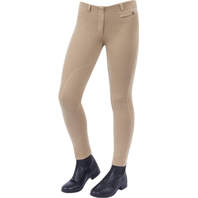 Beige - Front - Dublin Childrens-Kids Supa-fit Pull On Knee Patch Jodhpurs