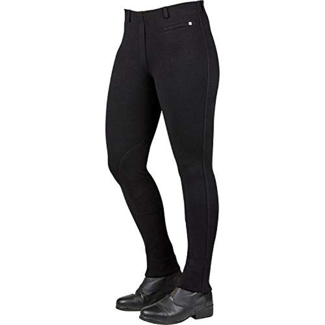 Black - Front - Dublin Womens-Ladies Supa-fit Pull On Knee Patch Jodhpurs