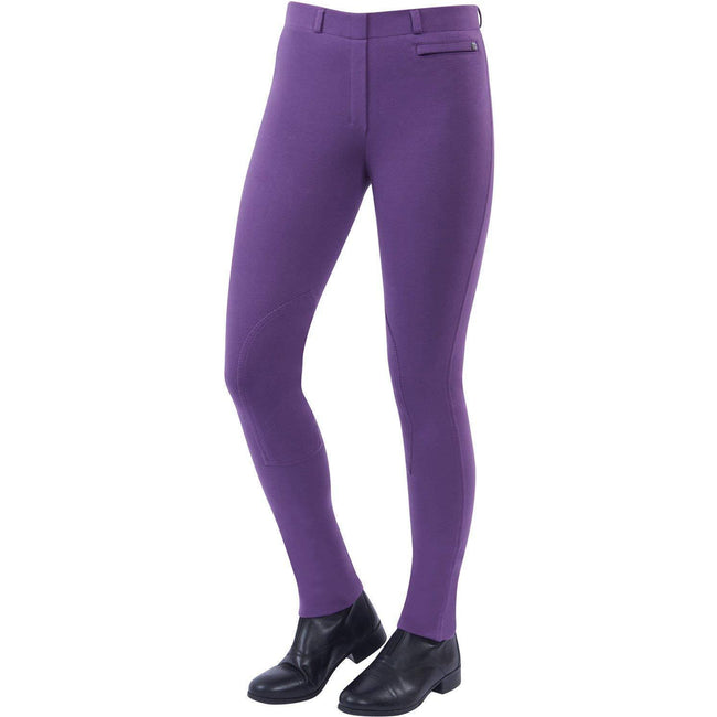 Berry - Front - Dublin Womens-Ladies Supa-fit Pull On Knee Patch Jodhpurs