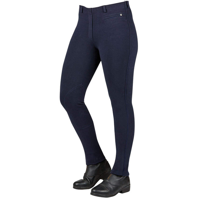 Navy - Front - Dublin Womens-Ladies Supa-fit Pull On Knee Patch Jodhpurs