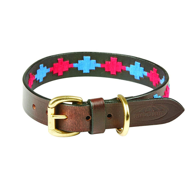 Beaufort Brown-Pink-Blue - Front - Weatherbeeta Polo Leather Dog Collar