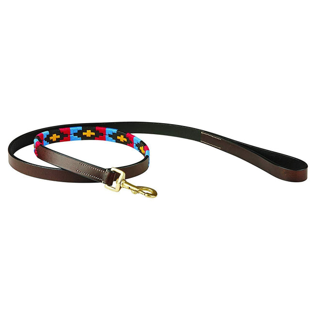 Cowdray Brown-Pink-Blue-Yellow - Front - Weatherbeeta Polo Leather Dog Lead