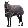 Charcoal-Blue-White - Front - Weatherbeeta Comfitec Heavy 1000d Diamond Quilt Detach-a-neck Stable Rug