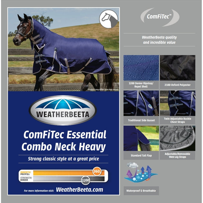 Navy-Silver-Red - Back - Weatherbeeta Comfitec Heavy Essential Combo Neck Turnout Rug