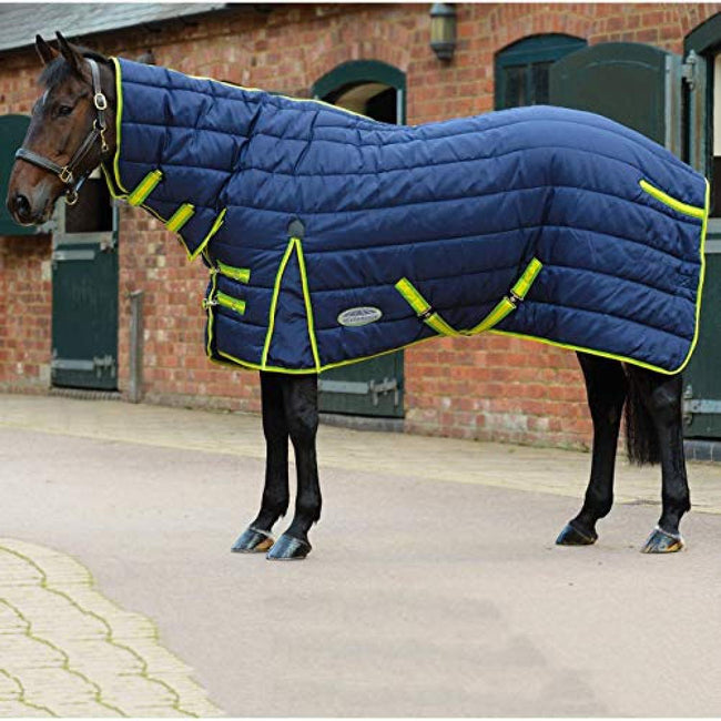 Navy-Lime - Back - Weatherbeeta Comfitec Heavy PP Channel Quilt Combo Neck Stable Rug