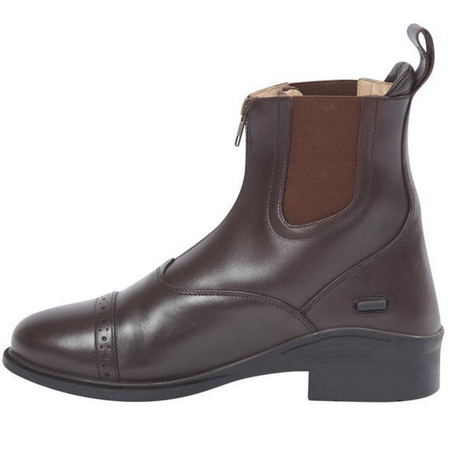 Brown - Front - Dublin Evolution Adults Zip Front Leather Paddock Boots