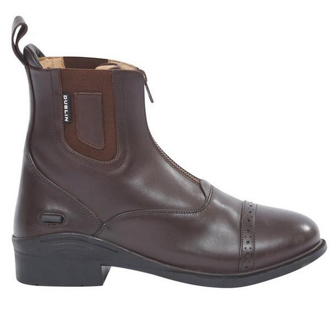 Brown - Back - Dublin Evolution Adults Zip Front Leather Paddock Boots