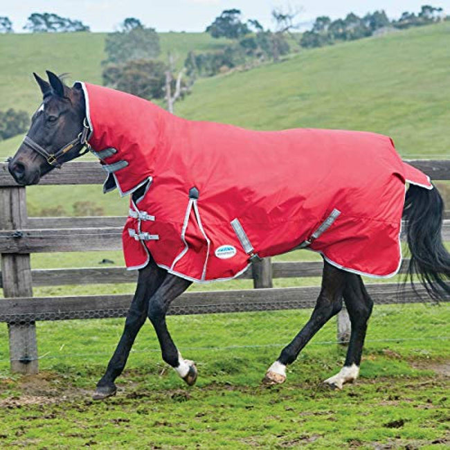 Red-Silver-Navy - Back - Weatherbeeta Comfitec Heavy Classic Combo Neck Turnout Rug