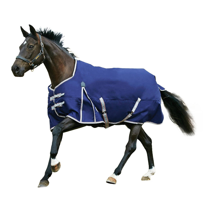 Navy-Silver-Red - Front - Weatherbeeta Comfitec Medium Essential Standard Neck Turnout Rug