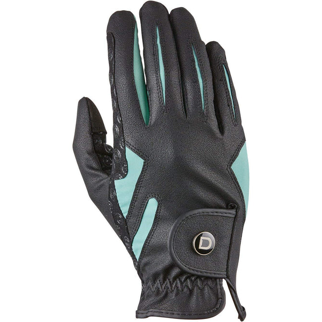 Black-Teal - Front - Dublin Unisex Cool-it Gel Touch Fastening Riding Gloves
