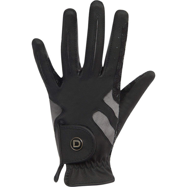 Black-Grey - Front - Dublin Unisex Cool-it Gel Touch Fastening Riding Gloves