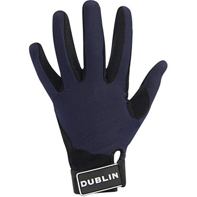 Navy - Front - Dublin Mens Meshback Touch Fastening Riding Gloves