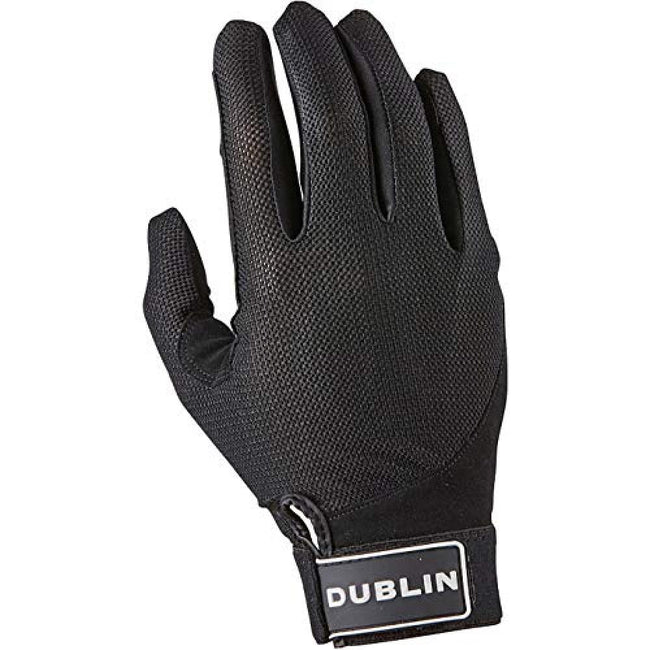 Black - Front - Dublin Mens Meshback Touch Fastening Riding Gloves