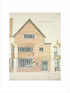 Design for 39 Frognal, Hampsted: elevation of principal gable; details of doors